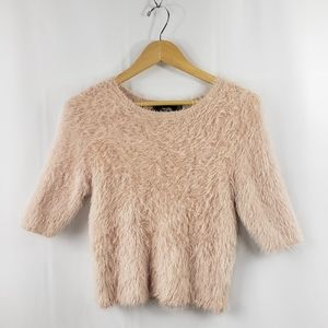 Forever 21 Fuzzy Crop Top Sweater Blush